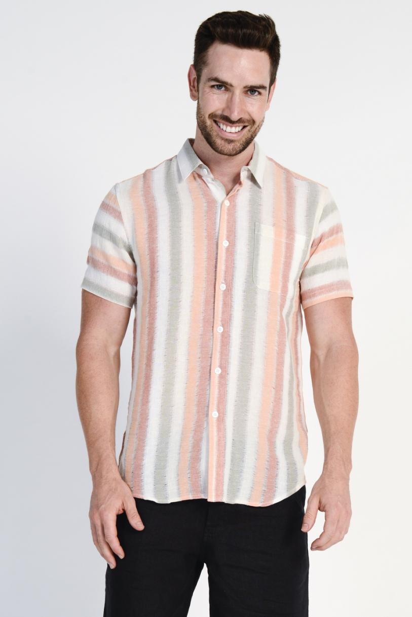 Men's 100%Hemp Light Weave S/S Shirt- Orange