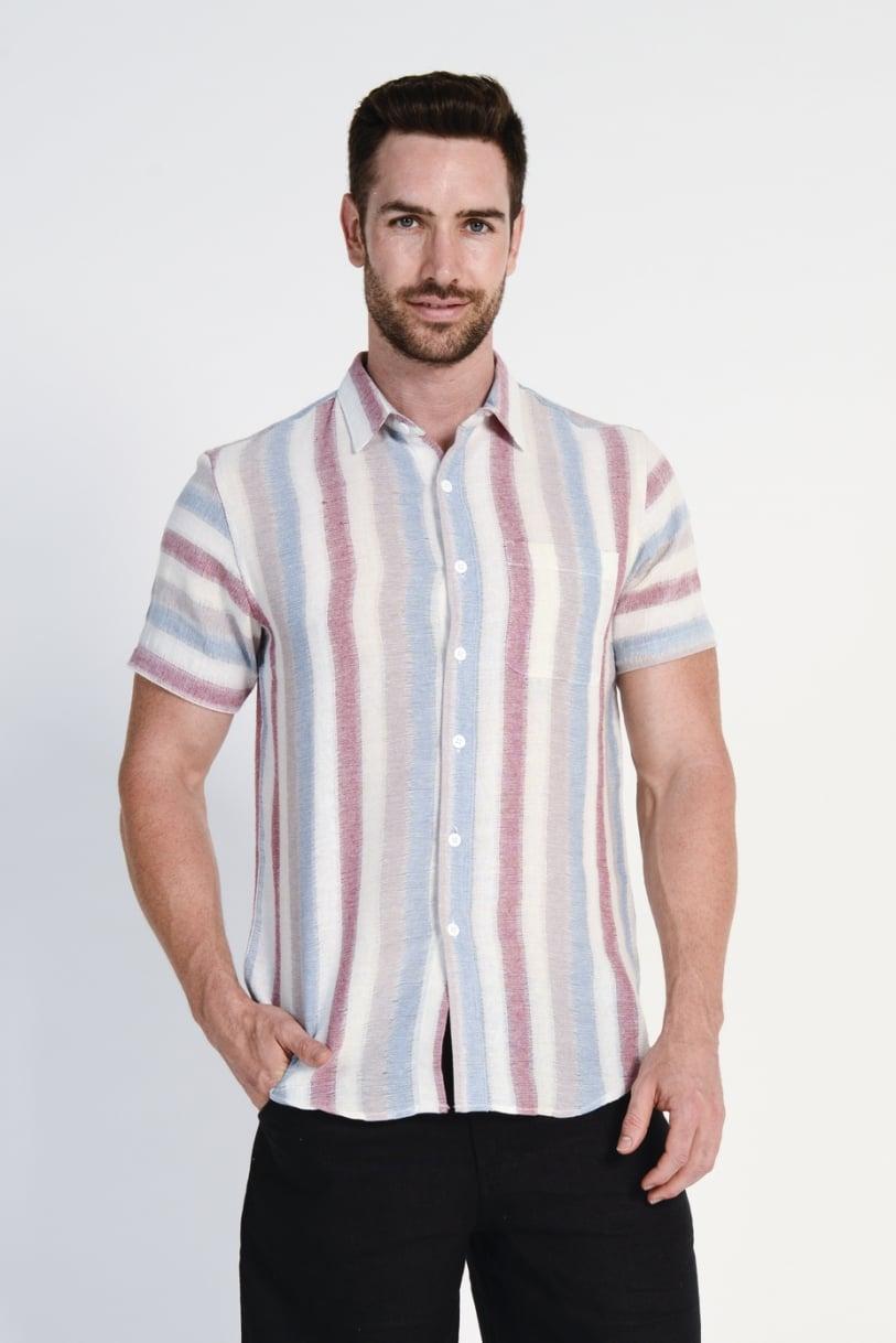Men's 100%Hemp Light Weave Shirt- Red