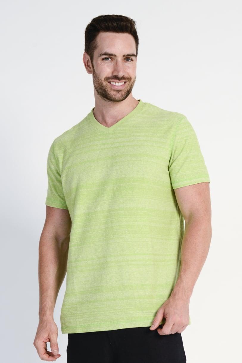 Men's Hemp Cotton V Neck Blended Tee- Lime