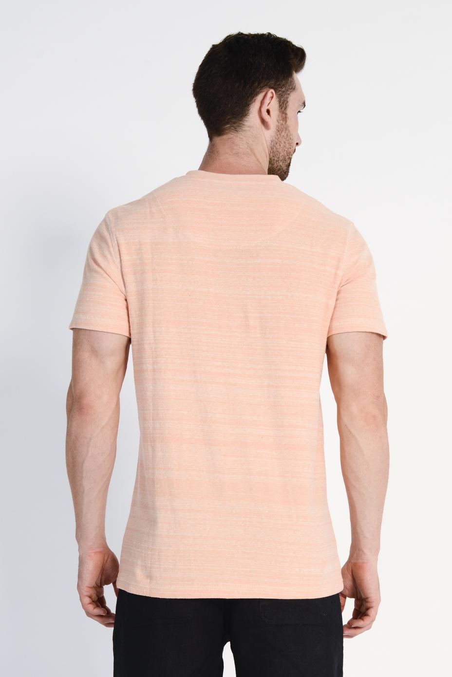 Men's Hemp Cotton V Neck Blended Tee- Salmon