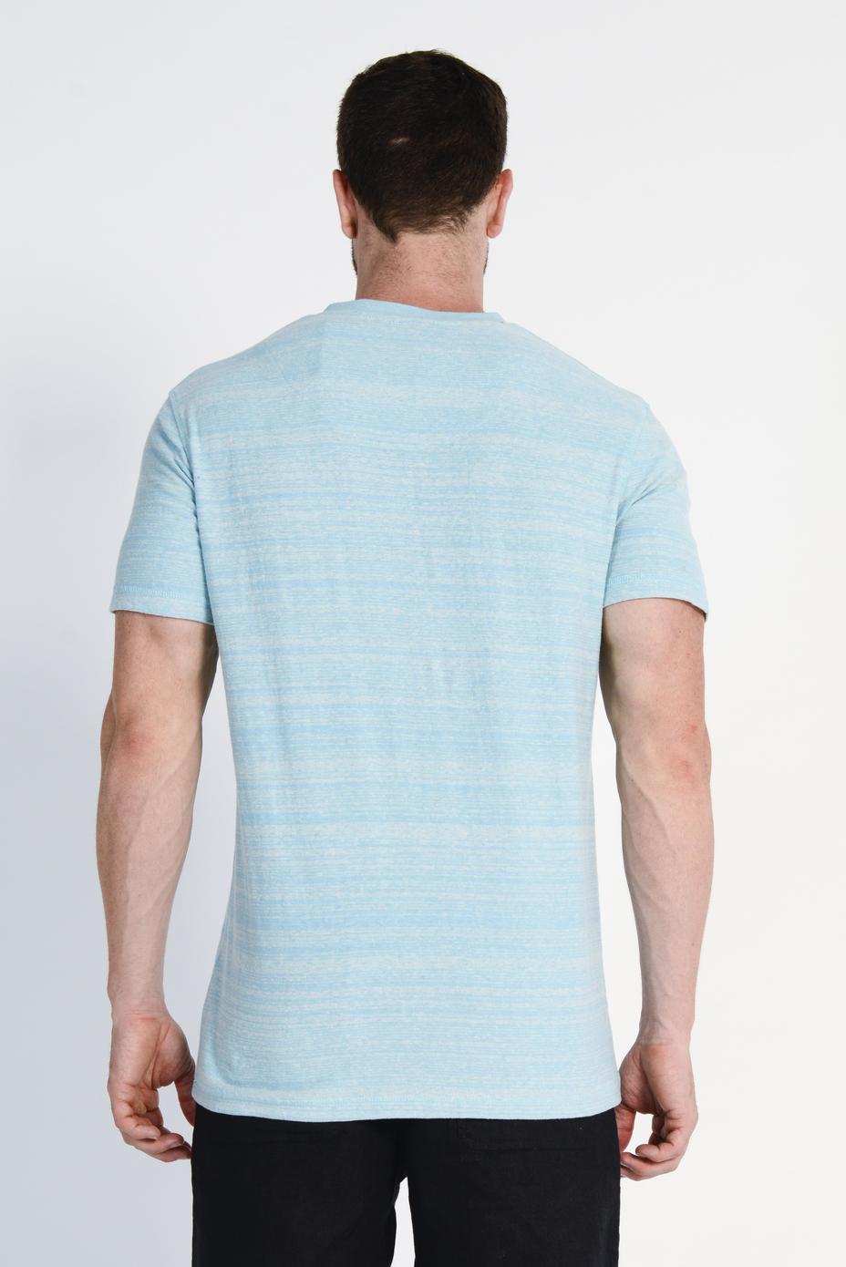 Men's Hemp Cotton V Neck Blended Tee- Sky