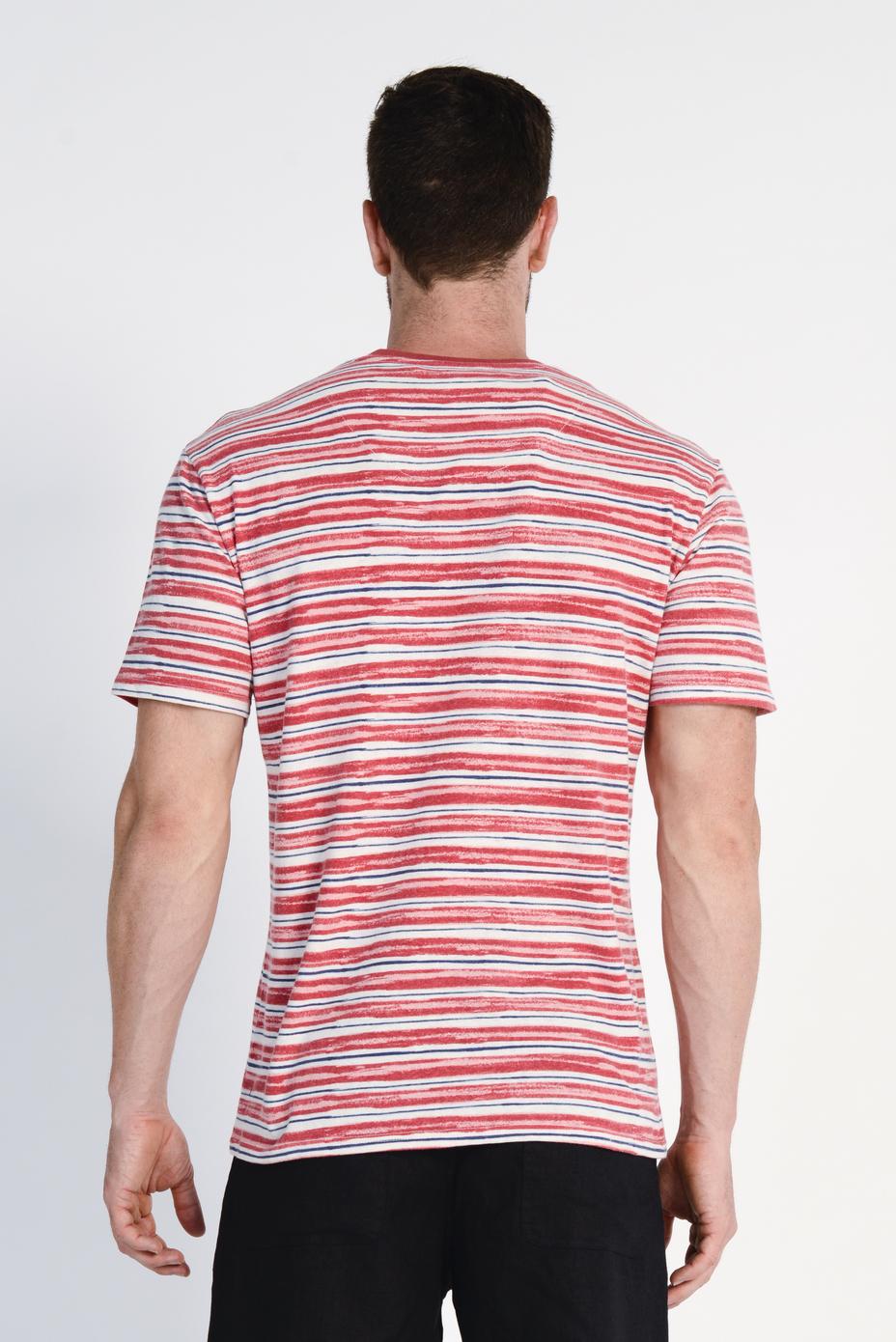 Men's Hemp Cotton Stripe Tee- Red