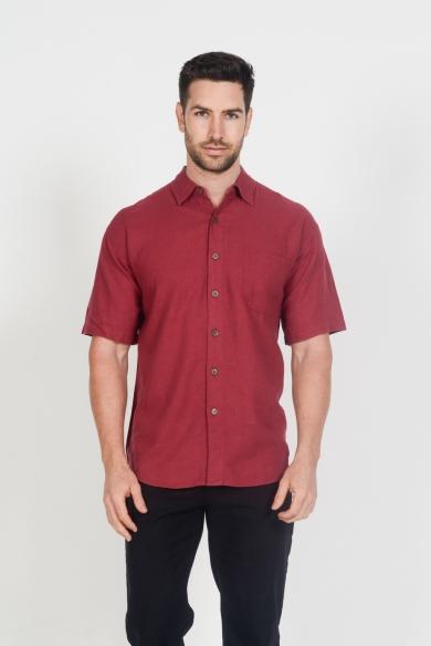 Mens Hemp Rayon Relax Fit Short Sleeve Shirt-Burgundy