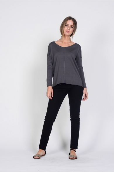 Ladies Bamboo Cotton V Neck Knit Top-Grey