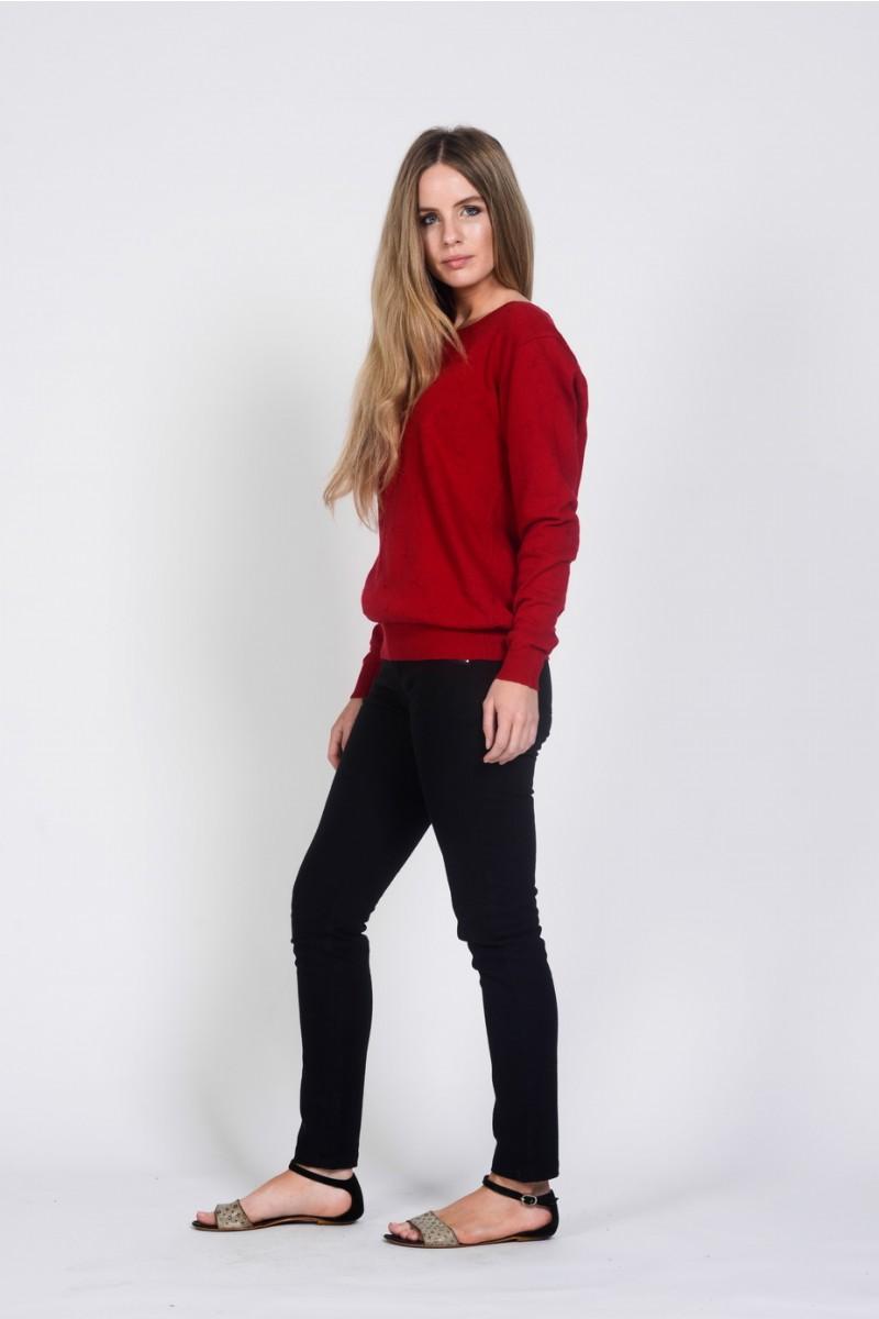 Ladies' Hemp Cotton Knit Jumper-Red