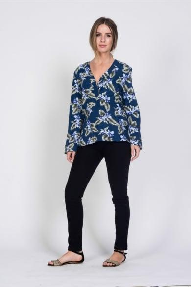 Ladies' Hemp Cotton Print Blouse-Blue
