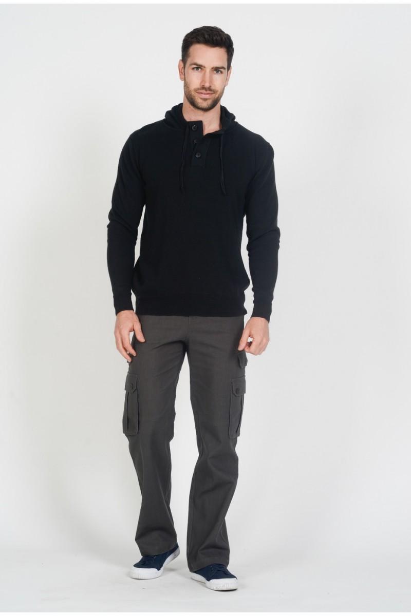 Men's Hemp Cotton Knit Hoodie-Black
