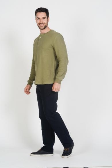 Men's Hemp Cotton Long Sleeve Top-Green