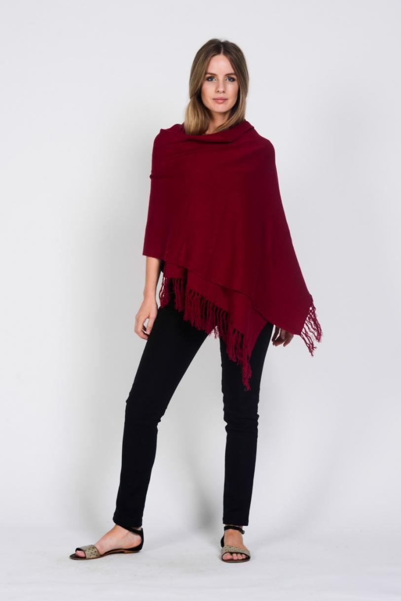 P01 Hemp Cotton Pashmina-Red