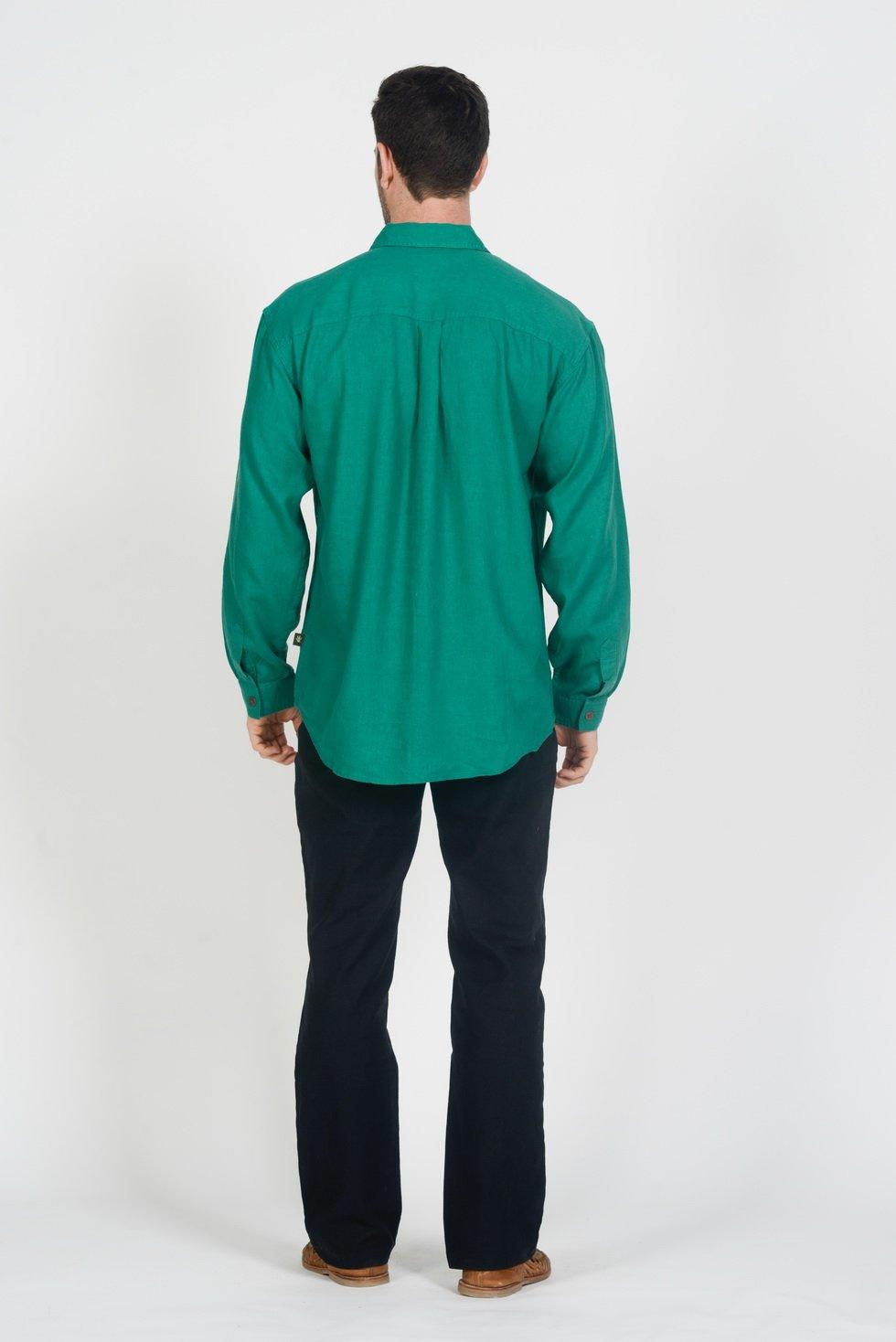 Mens Hemp Rayon Relax Fit Long Sleeve Shirt-Chive