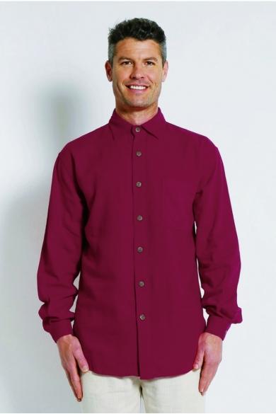 Mens Hemp Rayon Relax Fit Long Sleeve Shirt-Burgundy