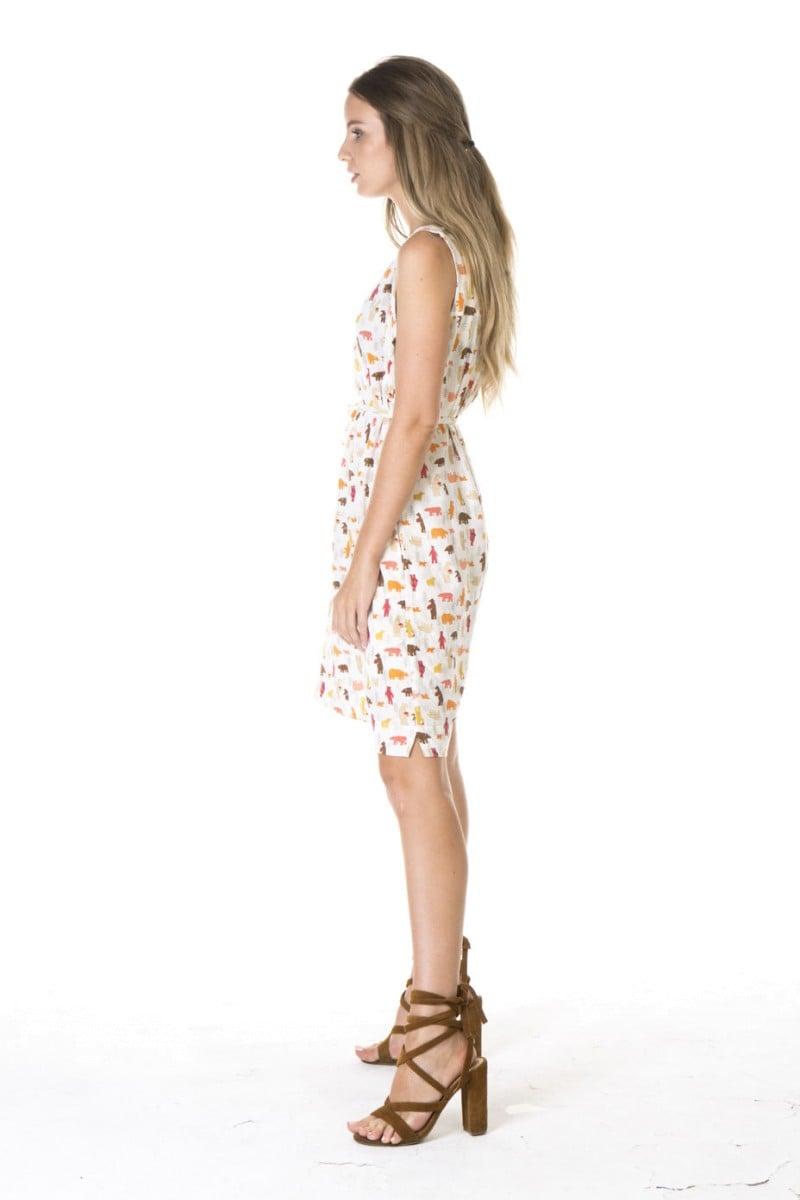 LADIES' HEMP COTTON PRINT SLEEVELESS DRESS-WHITE