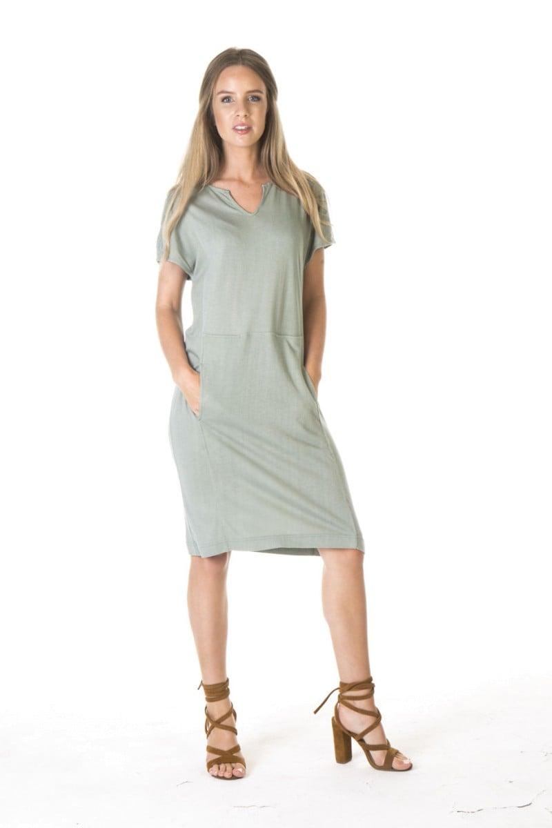 LADIES BAMBOO COTTON POCKET DRESS-MINT