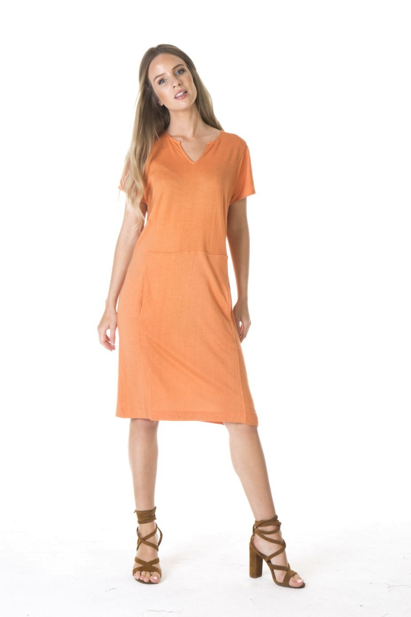LADIES BAMBOO COTTON POCKET DRESS-ORANGE
