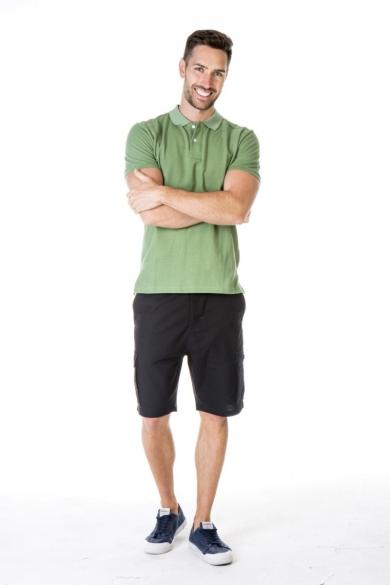 MEN'S HEMP COTTON POLO SHIRT-GREEN