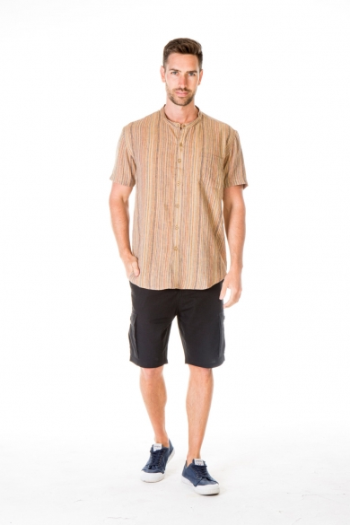 MEN'S 100%HEMP BLENDED GRANDPA SHORT SLEEVE TOP-YELLOW