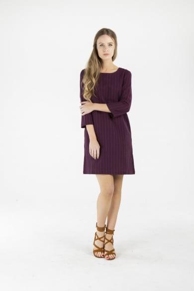 LADIES HEMP COTTON DRESS - MAROON