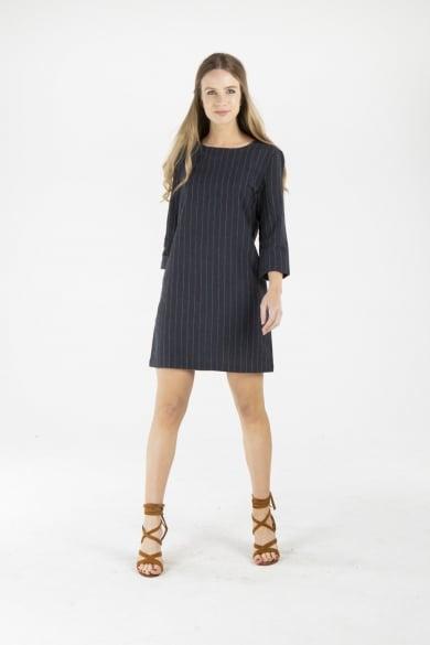 LADIES HEMP COTTON DRESS - NAVY