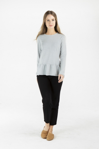 LADIES HEMP COTTON RUFFLE TOP - GREY