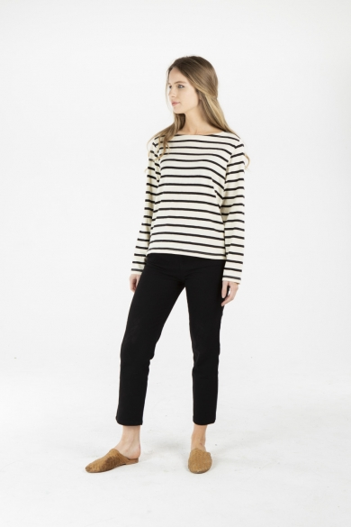 LADIES HEMP COTTON STRIPE TOP - BLACK STRIPE