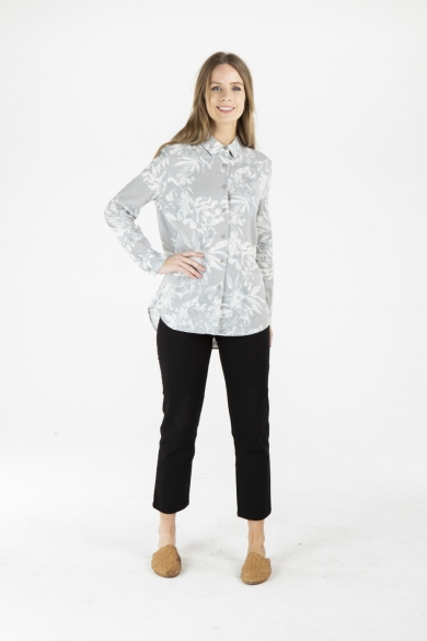 LADIES HEMP COTTON FLORAL PRINT SHIRT - GREY