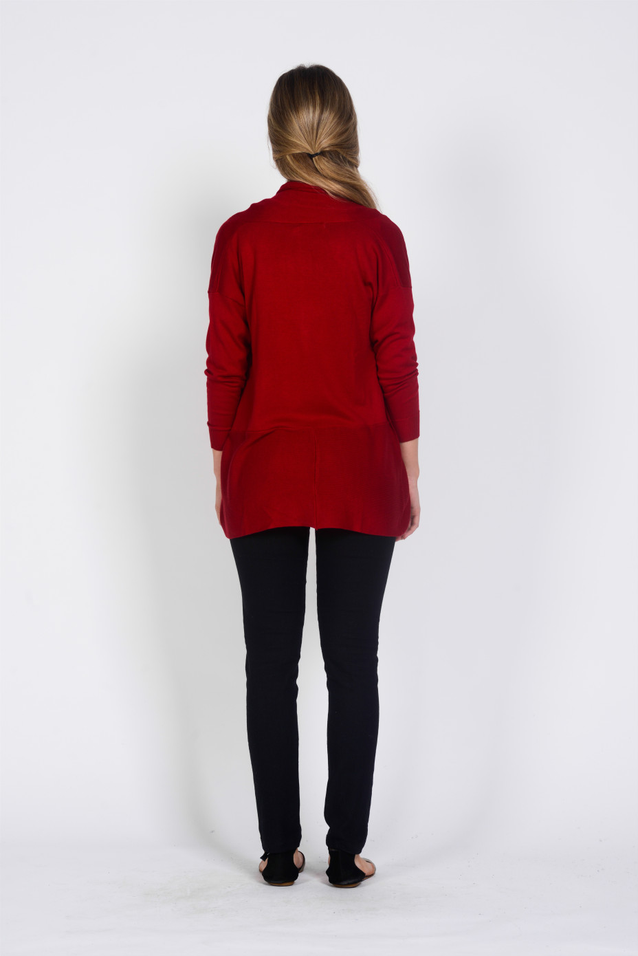 LADY BAMBOO COTTON CARDIGAN - RED