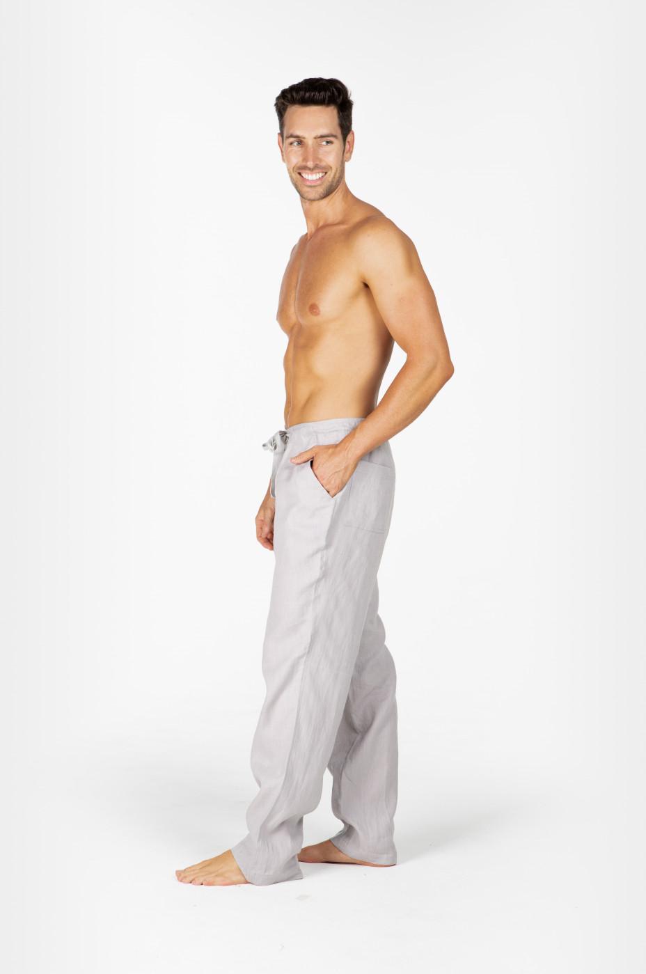 100% Hemp Mens Relaxing Beach Pants with Draw String-Grey