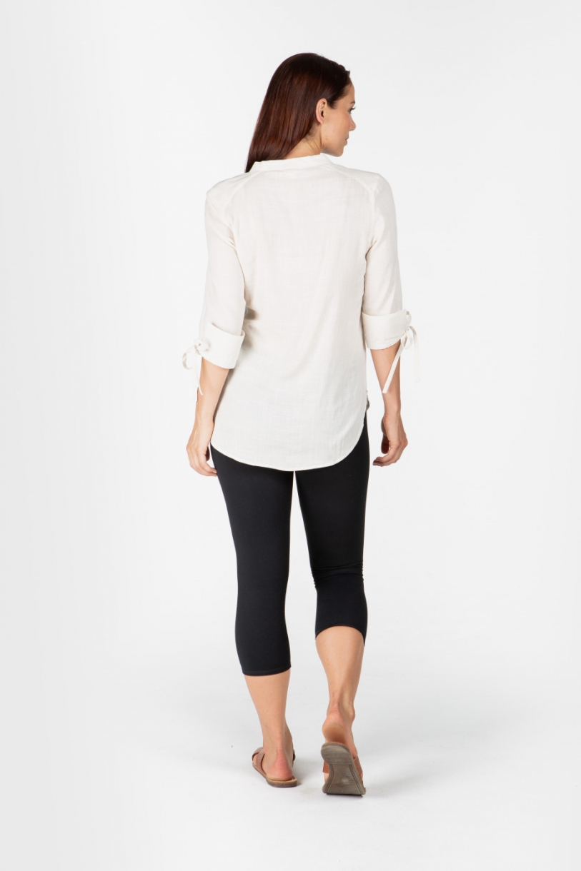 LADIES 100% HEMP 3/4 SLEEVES SHIRT- NATURAL