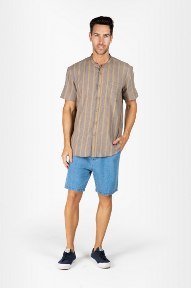 MEN'S HEMP BLENDED GRANDPA SHORT SLEEVE TOP-CAMEL