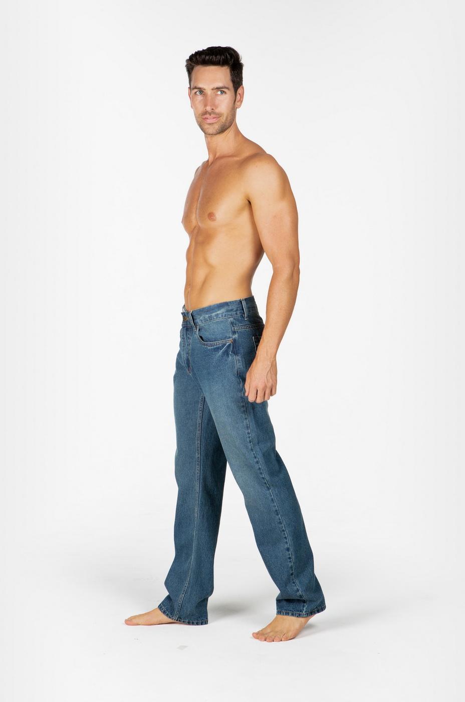 Mens Hemp Straight  Leg Jeans-Light Denim