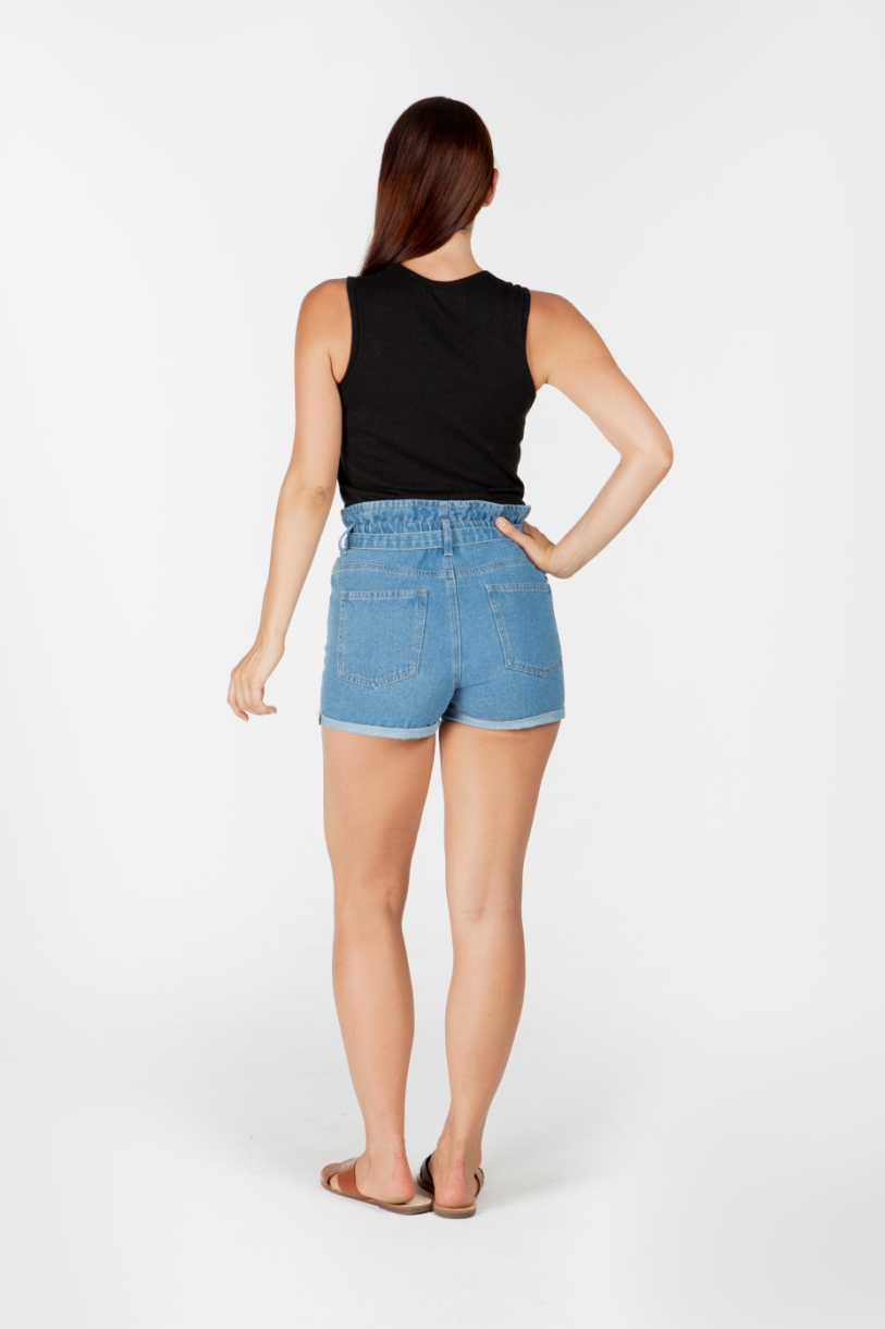 Ladies' Hemp Cotton Denim Shorts-Light Denim