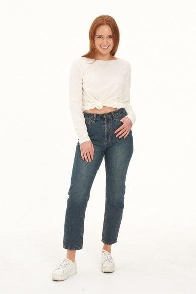 Ladies' Hemp Straight Leg Jeans-Dark Denim