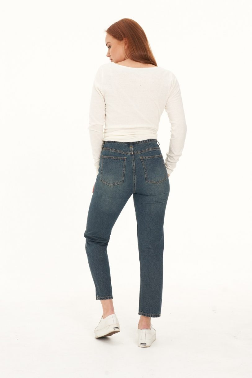 Ladies' Hemp Straight Leg Jeans-Dark Denim