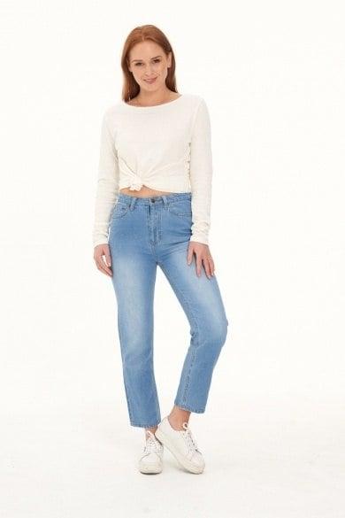 Ladies' Hemp Straight Leg Jeans-Light Denim