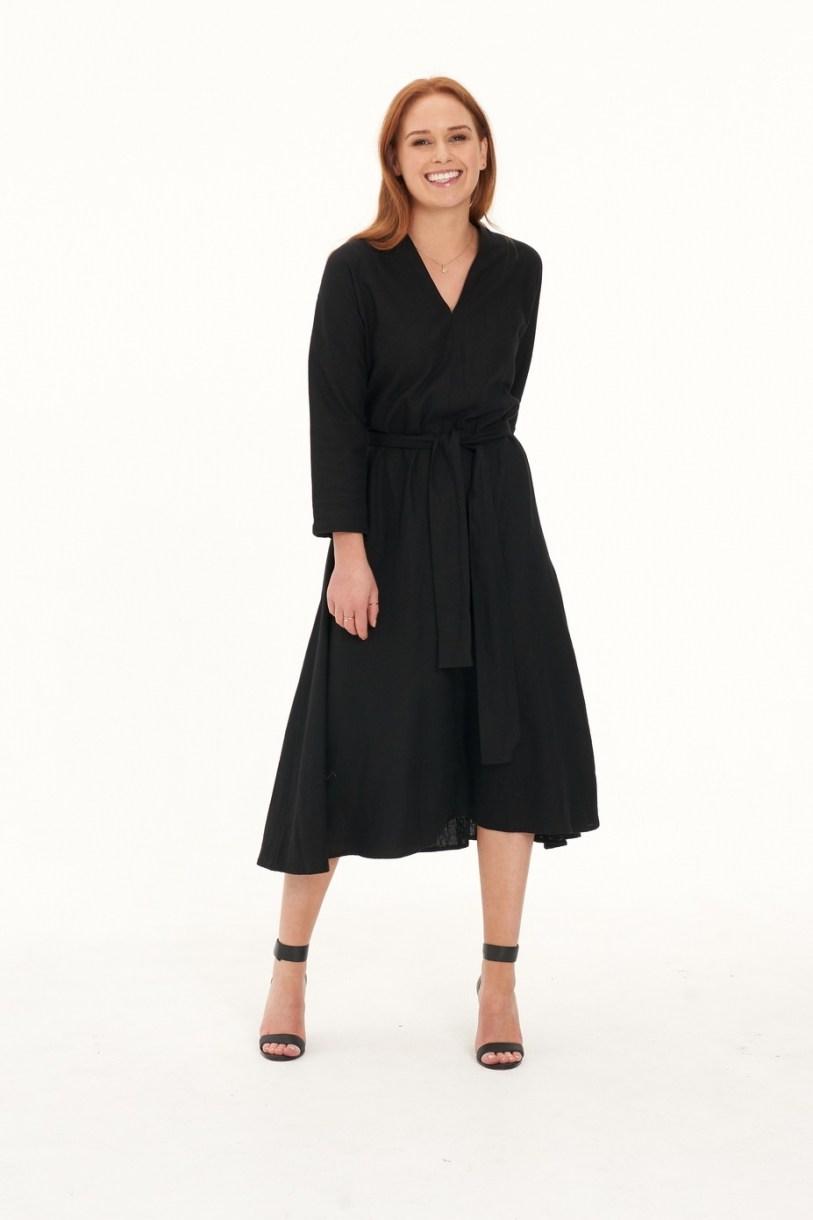 Ladies' Hemp Cotton Dress-Black