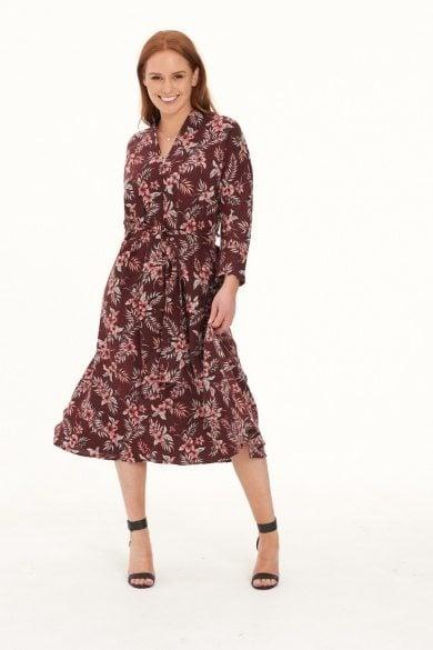 Ladies' Hemp Cotton Dress-Red Floral