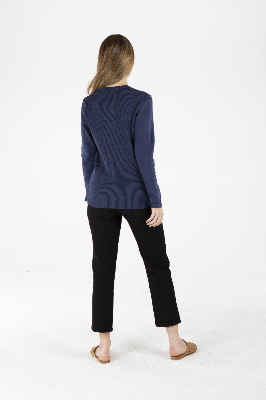 Ladies' Hemp Cotton Knit Jumper-Navy