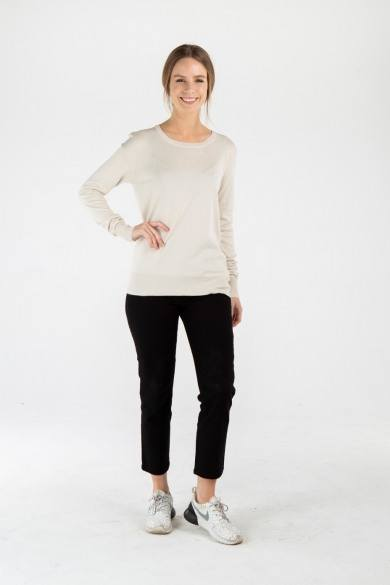 Ladies' Bamboo Cotton Loose Fit Knit Top-Beige