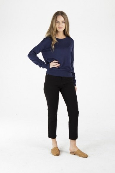 Ladies' Bamboo Cotton Loose Fit Knit Top-Navy