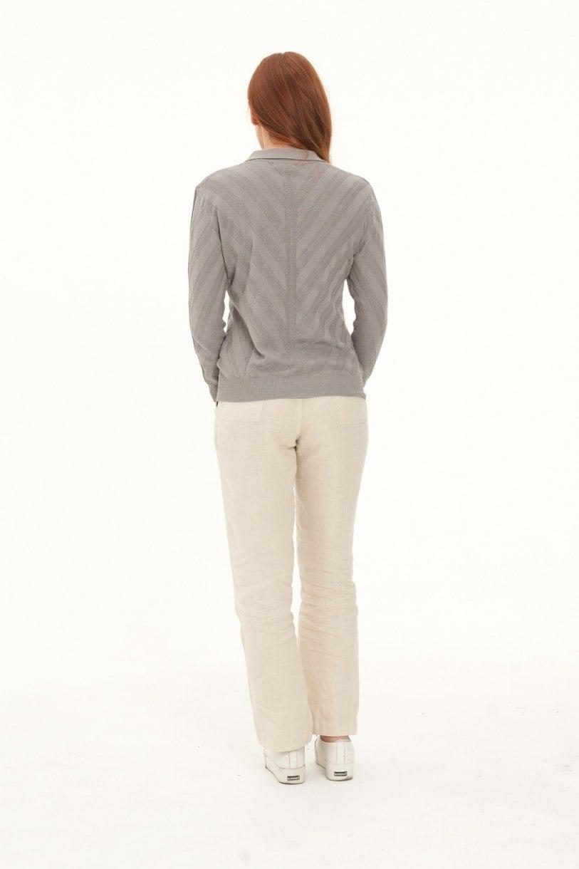 Ladies' Hemp Cotton Knit Polo-Grey
