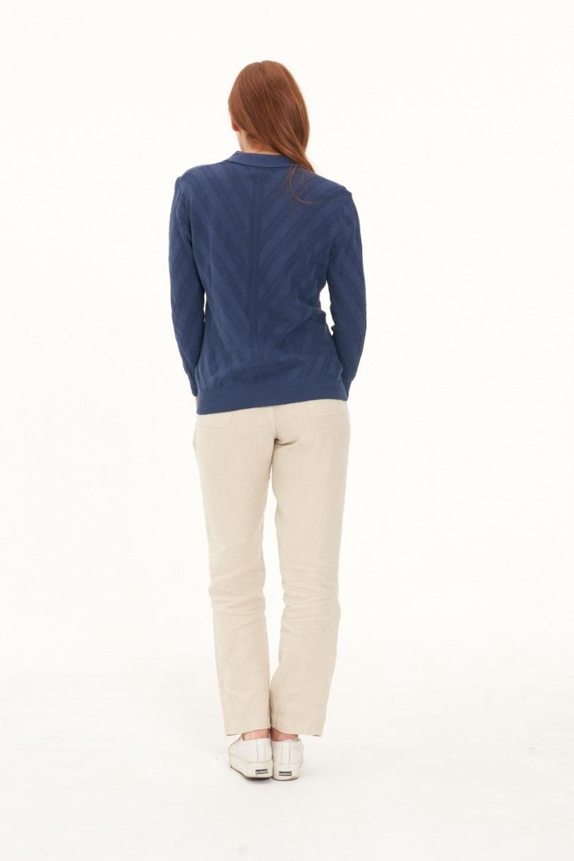 Ladies' Hemp Cotton Knit Polo-Navy