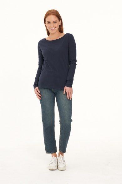 Ladies' Hemp Cotton Long Sleeve Tee-Navy