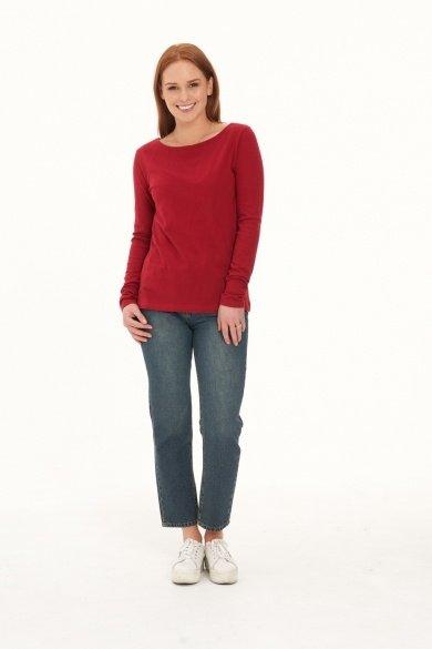 Ladies' Hemp Cotton Long Sleeve Tee-Red