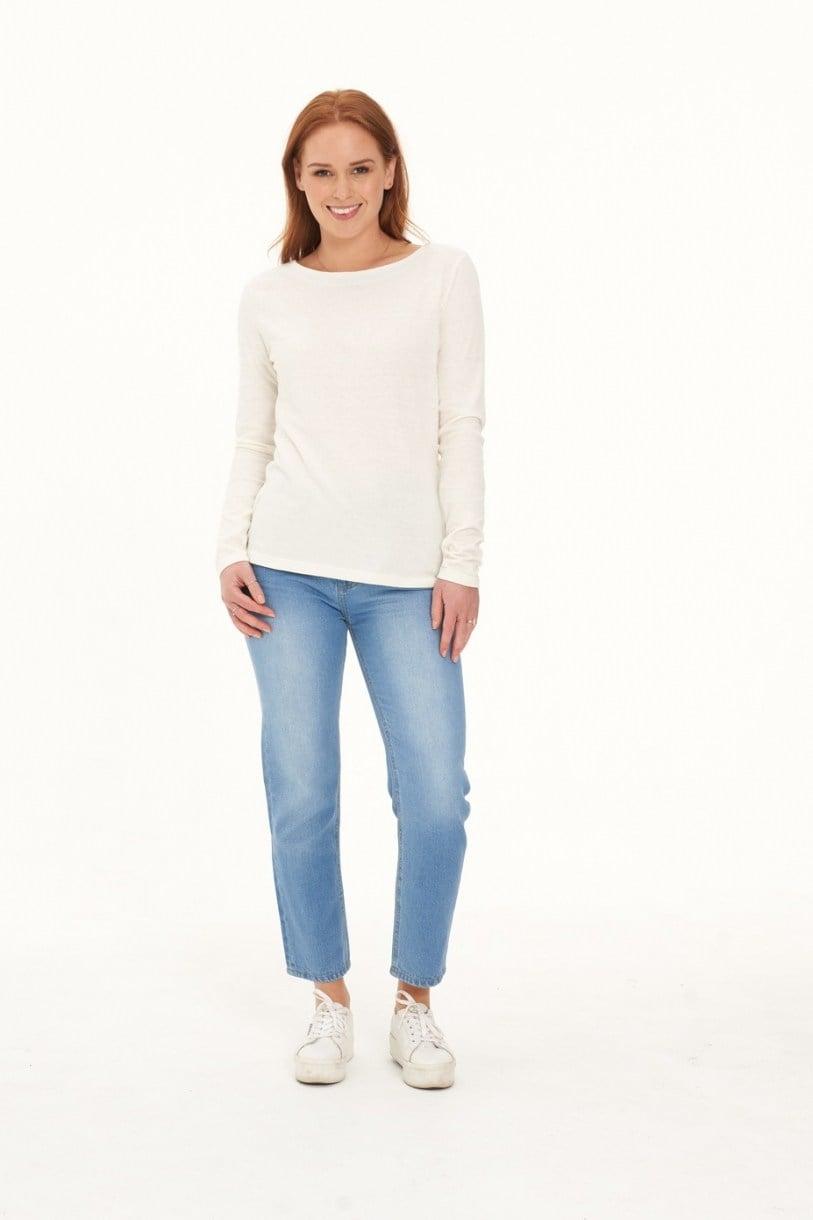 Ladies' Hemp Cotton Long Sleeve Tee-Natural