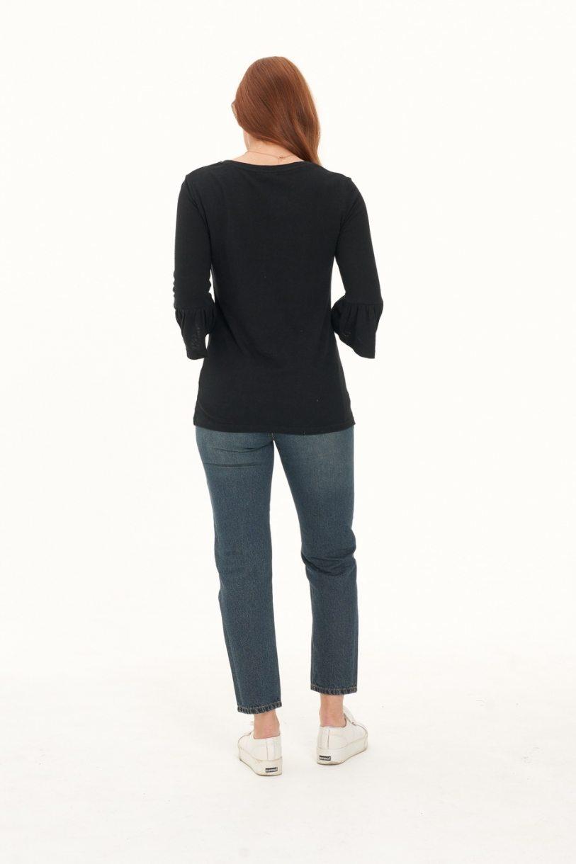 Ladies' Hemp Cotton Half Sleeves Ruffle Tee-Black