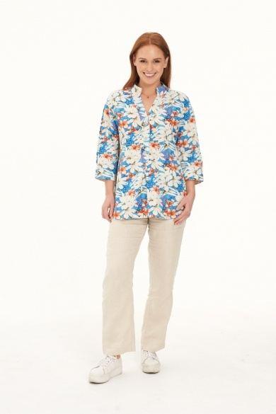 Ladies' Hemp Cotton Oversize Floral Shirt-Blue