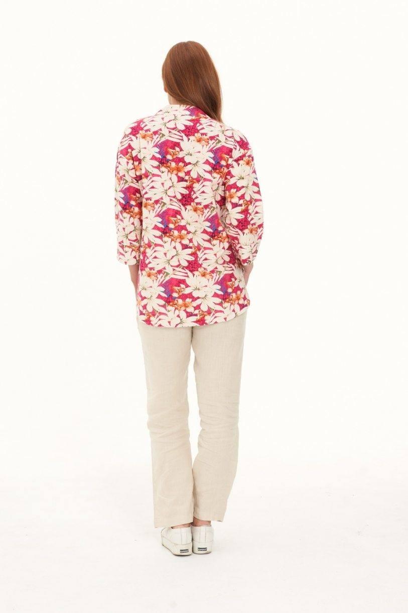 Ladies' Hemp Cotton Oversize Floral Shirt-Red