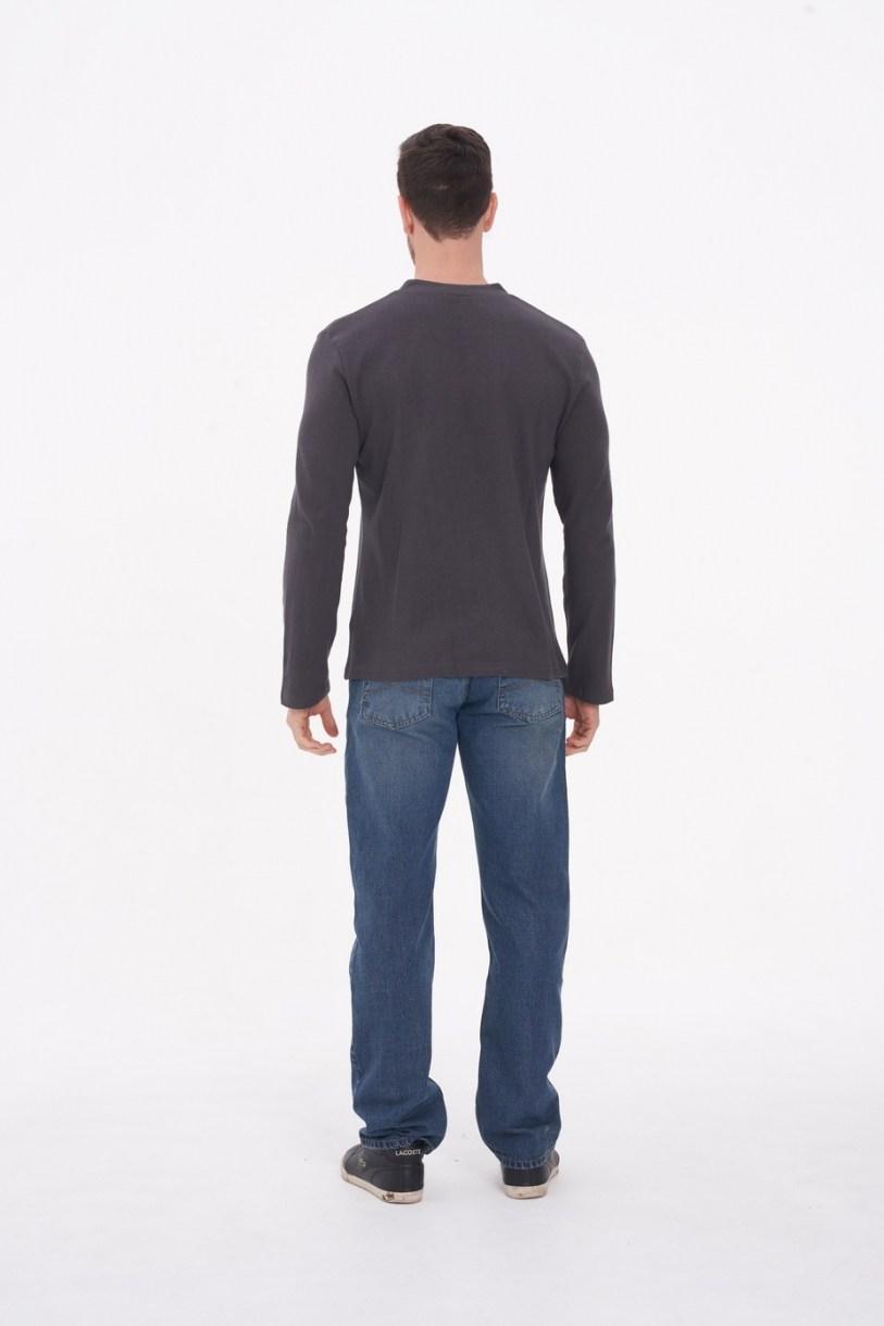 Men's Hemp Cotton Henley Tee-Dark Grey