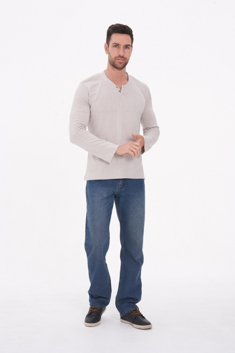 Men's Hemp Cotton Henley Tee-Light Grey