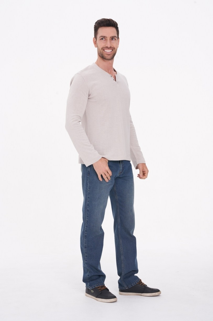 Men's Hemp Cotton Henley Tee-Light Grey
